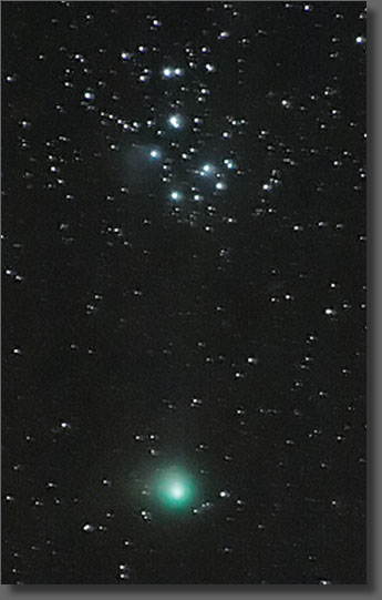 Comet Machholz near the Pleiades
