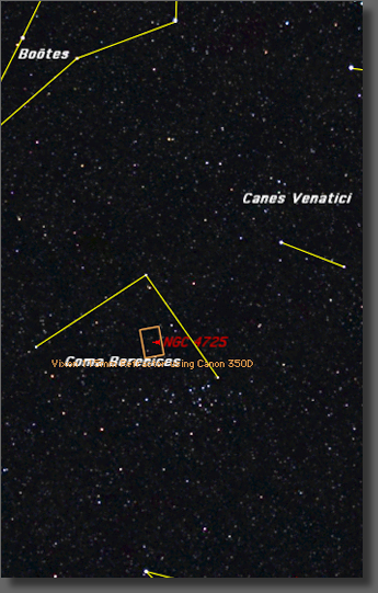 Map showing location and framing of NGC 4725